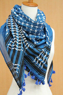 Original Palestinian Product Authentic Arab Scarf Shemagh Hirbawi Blue Kufiya