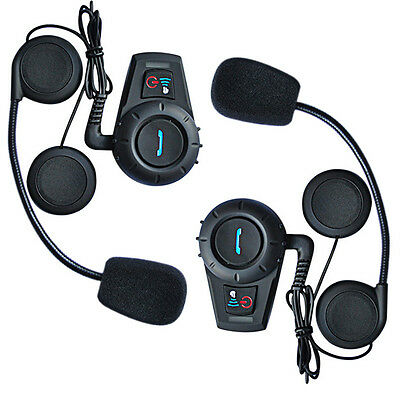 2x Motorcycle Bluetooth Intercom BT Interphone 500m Moto Helmet Radio Speaker FM