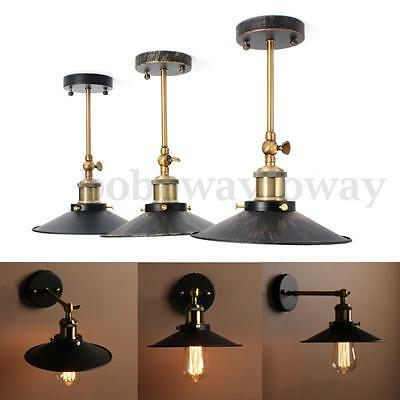 e27 vintage plat abat jour applique lampe loft murale spot. Black Bedroom Furniture Sets. Home Design Ideas