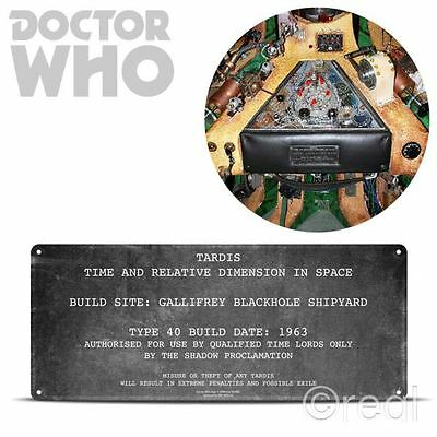 New Doctor Who TARDIS Plaque Replica Tin Sign Interior BBC Official Licensed