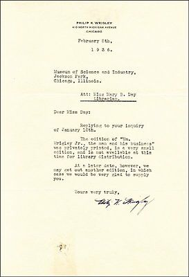 Philip K. Wrigley - Typed Letter Signed 02/05/1936