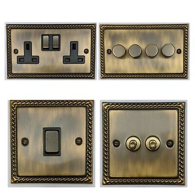 Monarch Roped Antique Bronze MAB3 Light Switches, Plug Sockets, Dimmers, Cooker