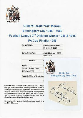 Gil Merrick Birmingham City 1946-1960 Rare Original Hand Signed Cutting