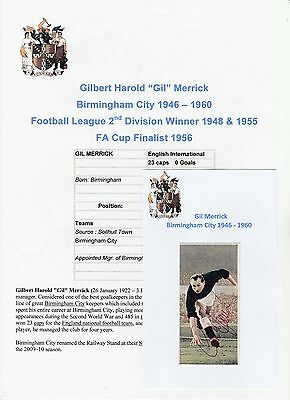 Gil Merrick Birmingham City 1946-1960 Rare Original Hand Signed Card