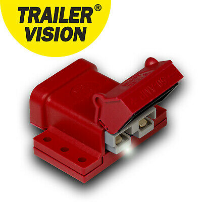50Amp 50A Anderson Connector Plug Cover  External Mounting Bracket Kit Red