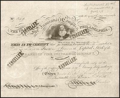 Franklin Fire Insurance Company Authentic Stock Certificate 1839 - Ben Franklin