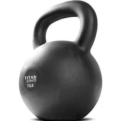 Cast Iron Kettlebell Weight 70 lb Natural Solid Titan Fitness Workout Swing