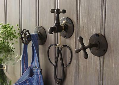 Mud Pie Rustic Garden Faucet Hooks Themed Metal Wall Hanging Style 4265194 New
