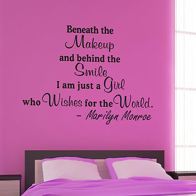 Beneath The Makeup Pick Color Size Marilyn Monroe Wall Quote Decal