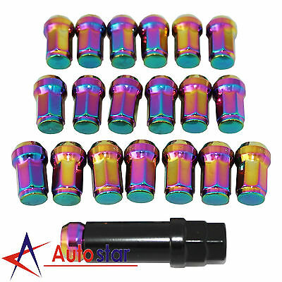 Neo Chrome 20PCS M12X1.5 Steel Locking Wheel Rim Lug Nuts For Acura Chevy Honda