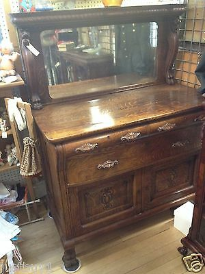 Antique Oak Claw Foot Sideboard Buffet With Full Griffins & Back Mirror