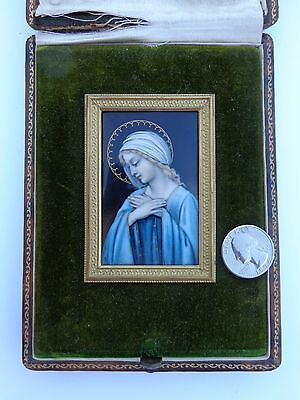 Lovely Victorian French Enamel Copper Madonna Virgin Mary Miniature Painting !