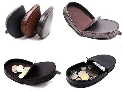 Mens Womens Ladies New High Quality Real Leather Coin Tray Purse Pouch Wallet