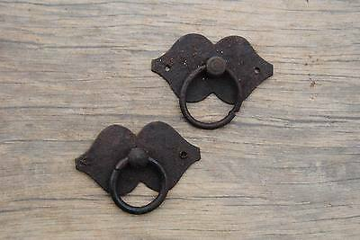 VINTAGE Victorian Iron Drawer Dresser Cabinet Pull Ring handle plate handcrafted