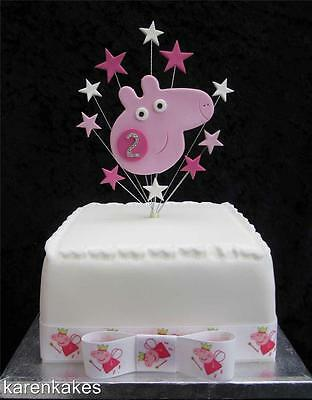 Peppa Pig With Stars & Diamante Age Cake Topper Ideal For A 15Cm Cake