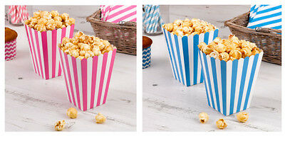 Carnival Striped Popcorn Sweet Boxes Pink or Blue Pack of 8 Wedding Candy Buffet