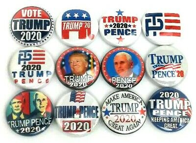 """12 TRUMP - PENCE 2016 Donald For President 1"""" Pinbacks Buttons Pins TP Mixed USA"""