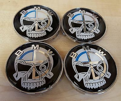 4x SKULL DESIGN Fits BMW MOST SERIES 68mm ALLOY WHEEL CENTRE CAPS 5 Pin