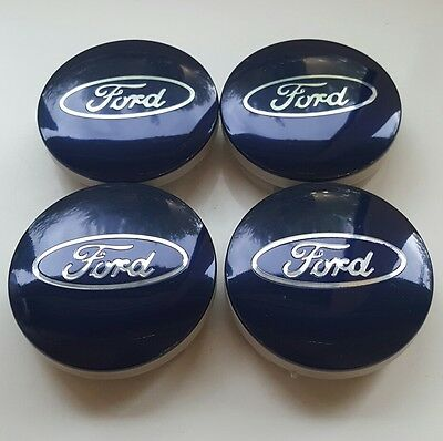 4x BLUE FORD FITS MOST NEW MODELS 54MM ALLOY WHEEL CENTRE CAPS