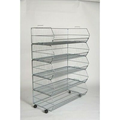 5 STACK BASKET DISPLAY UNIT RETAIL SHOP FITTING 600mm With out  WHEELS