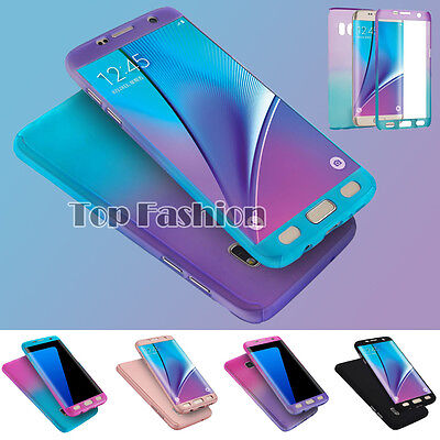 360° Hybrid Hard Tempered Glass Shockproof Case Cover For Samsung Galaxy Phones