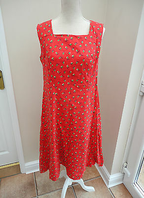 LOVELY KNEE LENGTH VINTAGE RETRO 1960s RED & GREEN MAIUS ? DRESS - SIZE 14