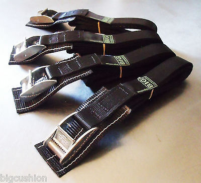 4-pack: 2.5m x 25mm Black PADDED Cam Buckle Endless Lashing 400kg; Cargo Straps