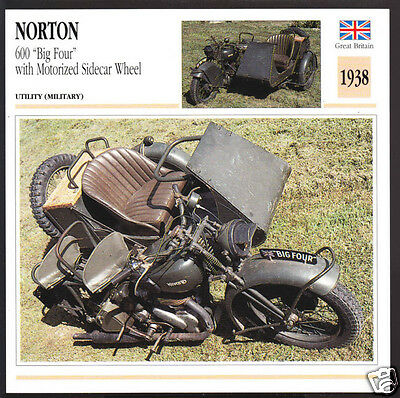 1938 Norton 600 Big Four Motorized Sidecar Wheel WW2 Army Motorcycle Photo Card