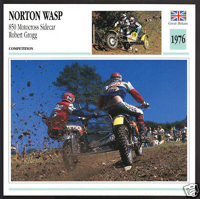 1976 Norton Wasp 850 Motocross Sidecar Robert Grogg 829cc Motorcycle Photo Card