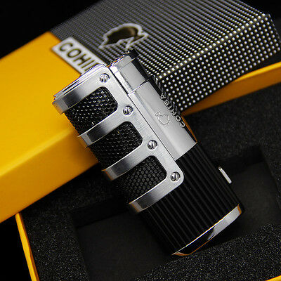 COHIBA Black Stripes 3 Torch Jet Flame Cigar Lighter W/Punch Gift Box