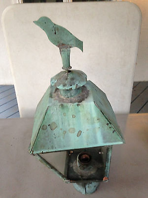 Vintage Copper  Light Fixture Old Outdoor Post Light