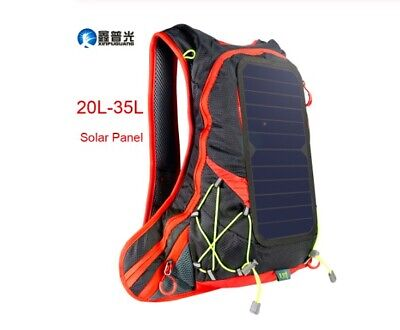 Travel Day Pack Backpack Solar Panel Hiking Camping I Phone Laptop Charger USB