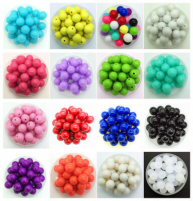 NEW 6/8/10/16/20/25mm DIY Acrylic Round Beads For Jewelry Pendant Making Pick