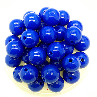New 6mm 100Pcs Blue Acrylic Round Pearl Spacer Loose Beads DIY Jewelry Making