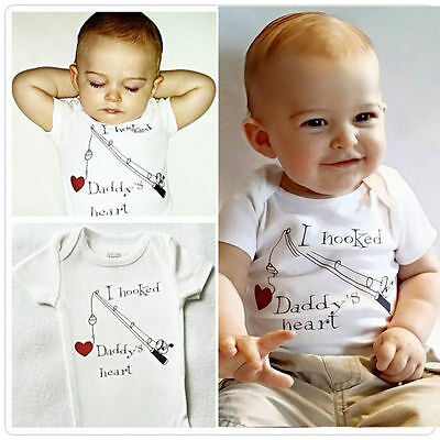 I Hooked Daddy's Heart Newborn Baby Boy Clothes Girl Bodysuit Playsuit Rompers E
