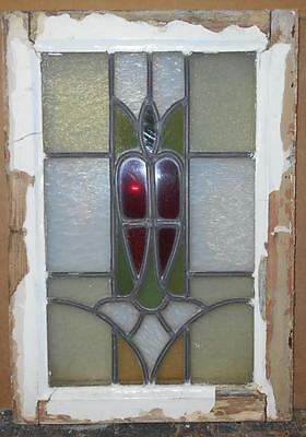 "OLD ENGLISH LEADED STAINED GLASS WINDOW Nice Floral Design 13.75"" x 19.75"""