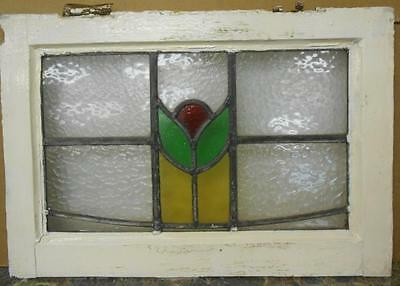 "OLD ENGLISH LEADED STAINED GLASS WINDOW Simple Floral 20.25"" x 14"""