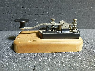 Old Telegraph Machine on Wooden Base