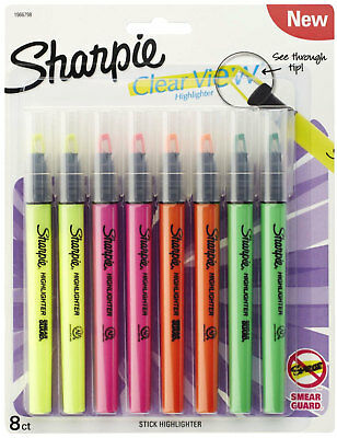 Sharpie Highlighters Clear View See Through Tip Highlighting Stick 8pc 4 Colors