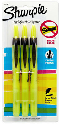 Sharpie Retractable Highlighters Yellow 3 pk Narrow Chisel Tip Smear Guard