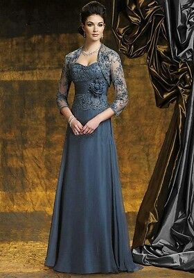 Dark gray plus size mother of the bride dresses custom formal dress&lace jackets