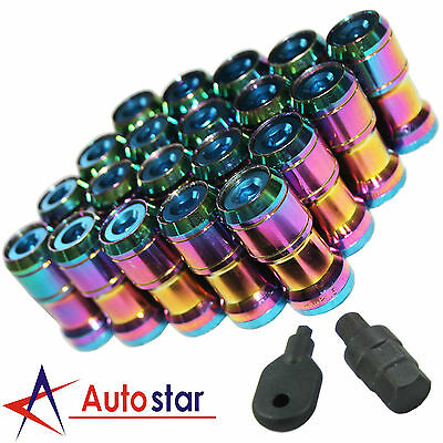 Neo Chrome M12X1.5 Extended Dust Cap Steel Wheel Rims Lug Nuts With Lock Key