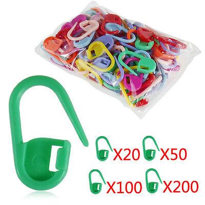 50/100/200pcs Knitting Crochet Locking Stitch Needle Clip Markers Holder Plastic