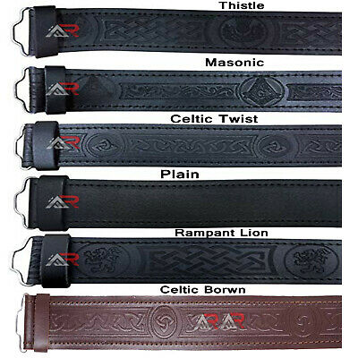 New Scottish Black Leather Belt Masonic, Thistle Plain Kilt Belts without Buckle
