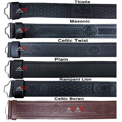 Scottish Black Leather  Kilt Belts Without Buckle Belt Masonic Thistle Plain