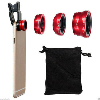 3in1 Red Fisheye Wide Angle Macro Camera Clip-on Lens For iPhone Phone Tablet CA