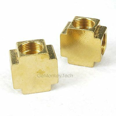 "Generic 2 PCS Of Brass Pipe Female Cross 1/8""  NPT Pneumatic Fittings Air/Water"