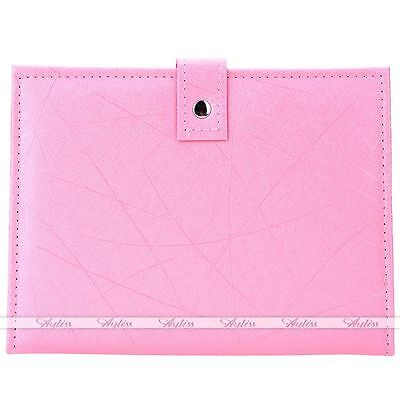 New Large Book Of Earrings Pu Leather Skin 4 Pages Jewellery Storage Box Pink