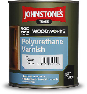 Johnstones Quick Dry Clear Polyurethane Varnish 750ml - Satin or Gloss