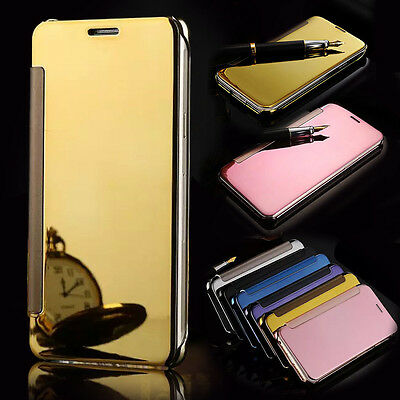 Luxury Smart View Mirror Clear Flip Ultra Thin Leather Case Cover For Phone